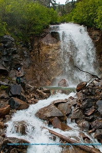 Waterfall by the Klondike Highway between Fraser and Skagway on a tributary of the Skagway River (USA Alaska Skagway)