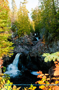 Blazing autumn foliage frames the Cascade River Falls upstream of the MN Highway 61 bridge along the Superior Hiking Trail within Cascade River State Park (USA MN Lutsen; RAO 2012 Nikon D300s Image 3926)