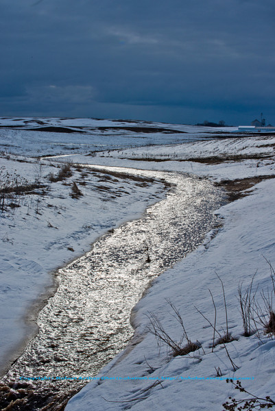 Icy snow melt feeding bright rivulets over snowy Middleton farmlands within Dam Creek watershed near Pheasant Branch Road during early spring (USA WI Middleton; Obst FAV Photos 2013 Nikon D800 Landscapes Inspirational Image 8416 )
