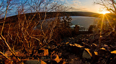 Hiker's view from the Balanced Rock Trail of the last Golden Rays of a spring sunset over ice covered Devils Lake and radiant boulder fields within Devils Lake State Park (USA WI Baraboo; Obst FAV Photos 2013 Nikon D800 Landscapes Inspirational Image 8891)
