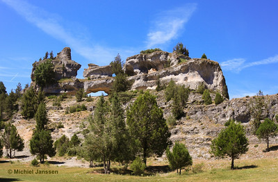 When acid rain erodes the limestone a karst landscape remains as seen here. Photo taken in Cañón del Río Lobos (Soria, Spain) on 22 June, 2009.