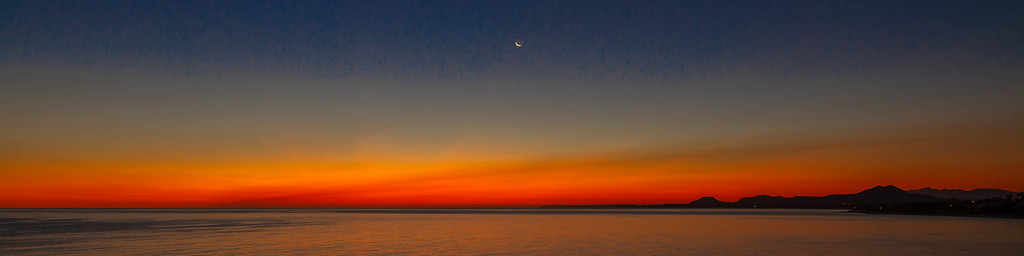 """""""Little Silver Slipper of a Moon"""" at Dawn over the Sea of Cortez"""