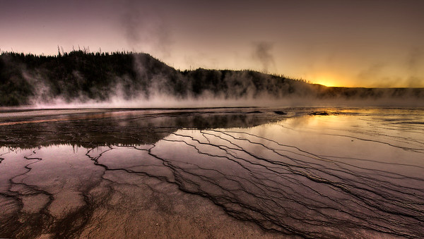 Sunset over The Grand Prismatic Spring
