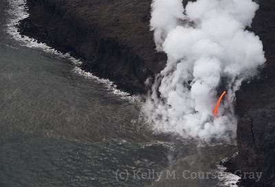 Lava flow into ocean 1