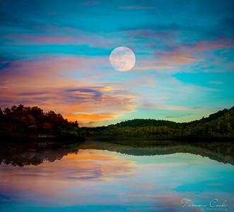 Full Moon rise over Lake Hiawassee, NC