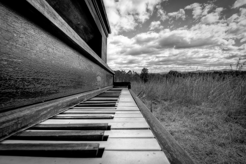 Keys on the piano located in the Big Meadow.