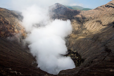 The smoking crater of Mt Bromo.