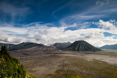 The active volcano of Mount Bromo, flanked by the extinct volcano Mount Batok.