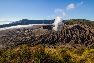A view of the active volcano, Mount Bromo as seen from its neighbouring peak of Mt Batok.