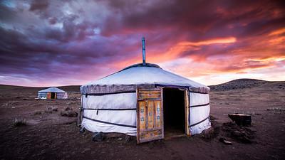 Traditional Yurts, Mongolia Steppe grassland Altanbulag