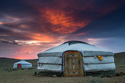 Behind the scenes of Big Cats - In Mongolia the crew spent 4 weeks living in gers (yurts) as they filmed the rare Pallas's cat. Altanbulag