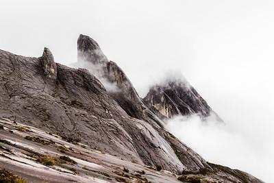 Tunku Abdul Rahman Peak (3948 m). Eastern plateau of Mt Kinabalu, Borneo. As seen from Sayat-Sayat checkpoint on the slope to the summit.