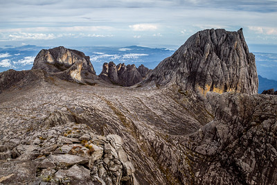 Oyayubi Iwu Peak, Alexandra Peak & Dewali Pinnacles, as seen from the summit of Mount Kinabalu, Borneo (4,095m)