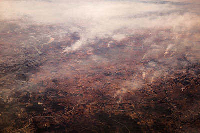 Smoke and fire seen from the air over NW India