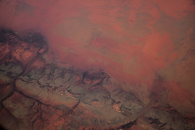 View from a plane of Gibber landscape, Western Australia, Newman WA Australia -22.776791, 120.346063 (Post work to increase contrast and clarity to compensate for atmospheric haze).
