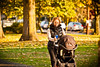 Busy working mom getting her exercise, taking the kid for a stroll and getting that photo conversation done.