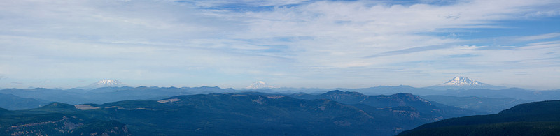 Mt Saint Helens, Mt Rainer and Mt. Adams from the top of Larch Mountain