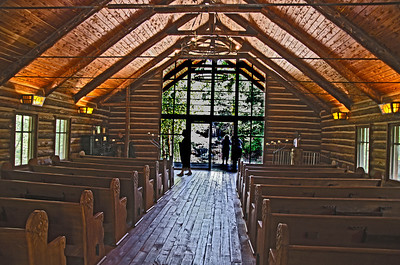 Inside view of Hope Wilderness Chapel found at Dogwood Canyon just South of Branson, Mo.