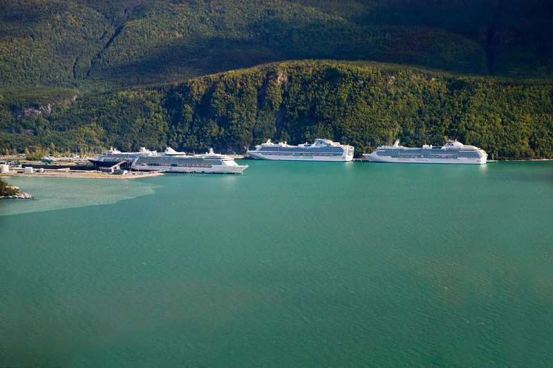 """Cruise Ships Docking at Skagway, Alaska - aerial view from a helicopter. (To purchase prints or downloads, click on the """"Buy"""" or shopping cart button above the image.)"""