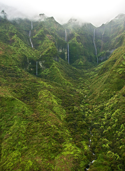 A helicopter view of waterfalls draining from the lush south side of Mount Waialeale (Wai'ale'ale), Kauai. The summit is often shrouded in mist and rain clouds. This wilderness area is considered one of the wettest or rainiest spot on earth.