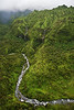 A helicopter view of streams and waterfalls as you aproach the outh side of Mount Waialeale (Wai'ale'ale), Kauai - the wettest or rainest place on earth.