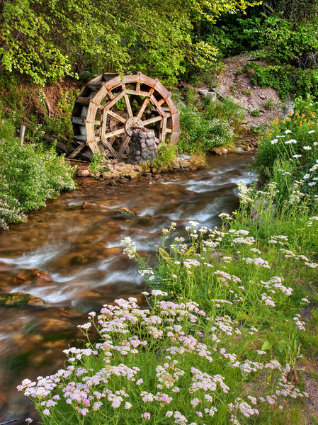 Old rustic water wheel on Mill Creek, in Millcreek Canyon, near Salt Lake City.
