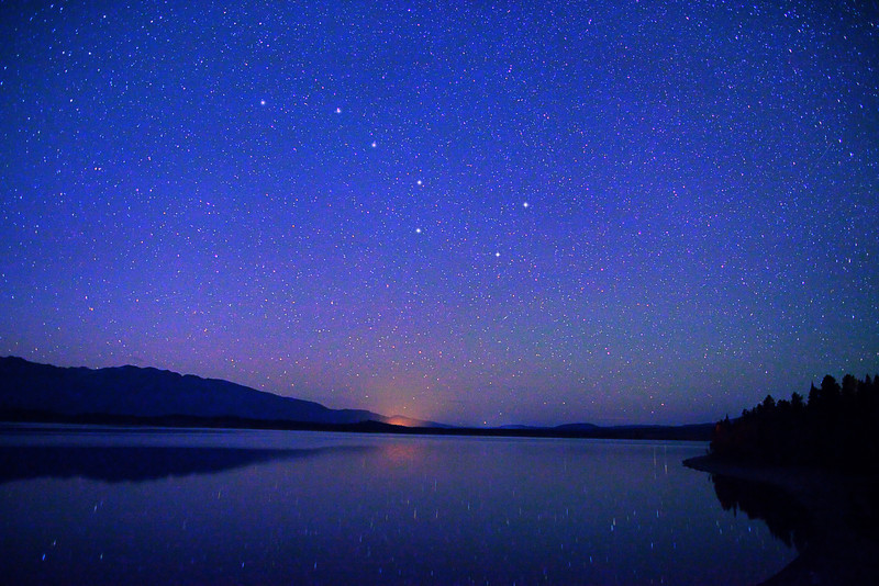 The Big Dipper constellation over Jackson Lake, Grand Teton National Park