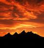 Sunset over Teton mountains Grand Teton National Park