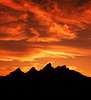 Sunset over Teton mountains Grand Teton National Park