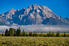 Low clouds below Mount Moran, Grand Teton national Park