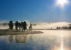 On a cold, frosty morning, the mist rises from the Yellowstone River in the Hayden Valley of Yellowstone National Park.