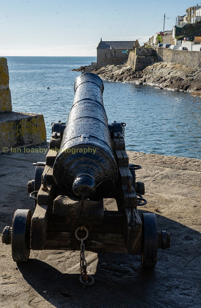 One of HMS Anson's guns at Porthleven