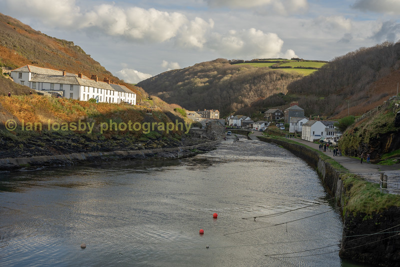 Looking back up to the village from the harbour wall to the village at Boscastle