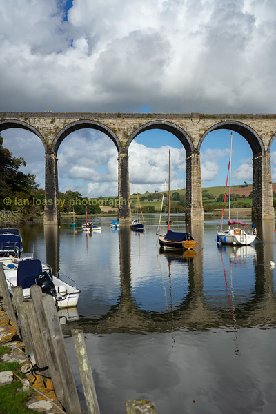 River Tiddy at St.Germans with the main Plymouth to Penzance railway crossing on the viaduct.