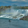The American falls , with the observation tower in  Niagara state park NY USA