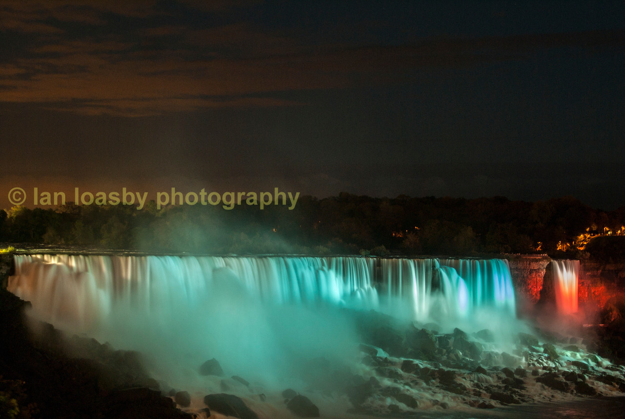 The American falls floodlit