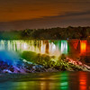 Niagara falls floodlit at night