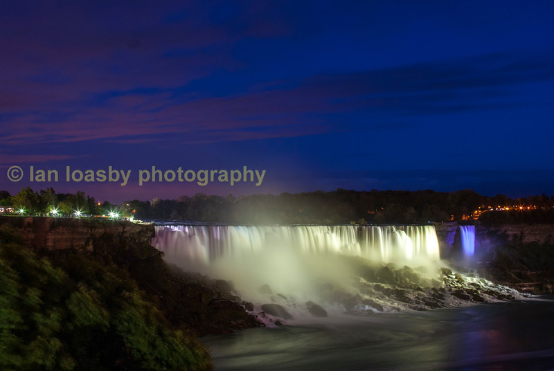 The American  falls floodlit