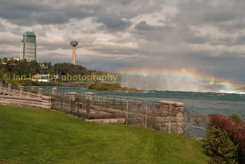 Looking over Horseshoe falls  at Niagara and Rainbow bridge
