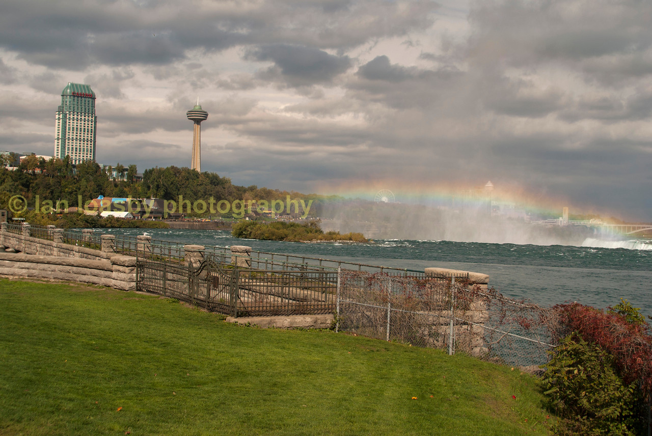 Looking over Horseshoe falls  at Niagara and Rainbow bridge