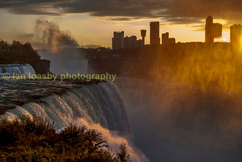 The American falls at sunset