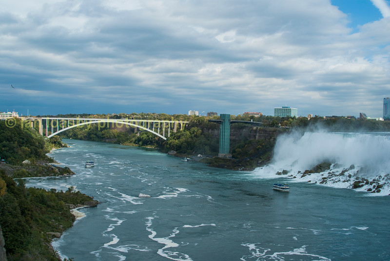 Rainbow bridge, the border between  Canada  & The US is dead centre. This is the road bridge you can walk across to gain access to the USA/Canada