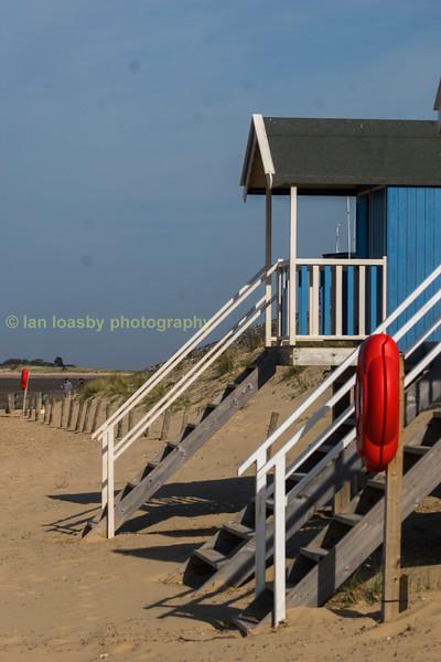 Holkham beach , huts