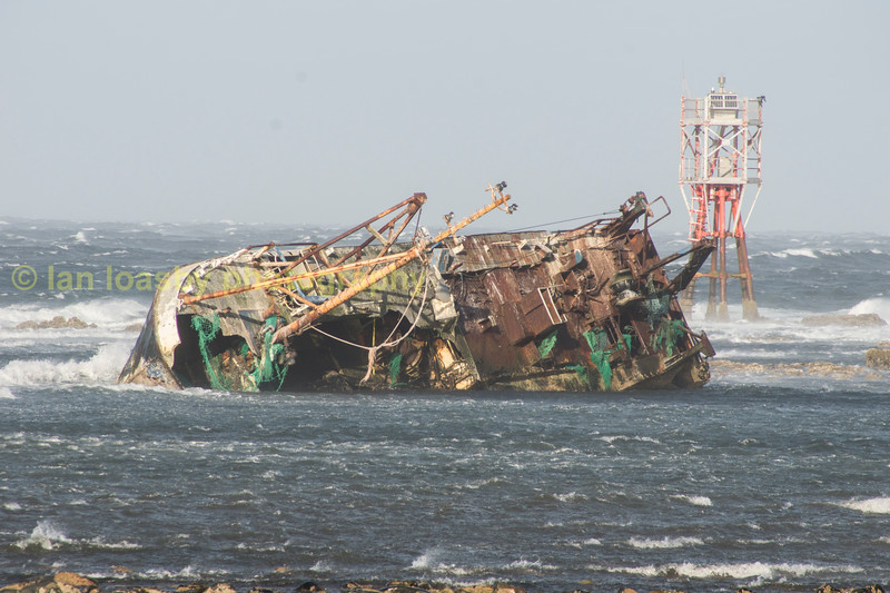 The wreck, once a fishing boat called The Sovereign, has been stranded at Cairnbulg on the east coast of Scotland since it ran aground during a stormy night in 2005.