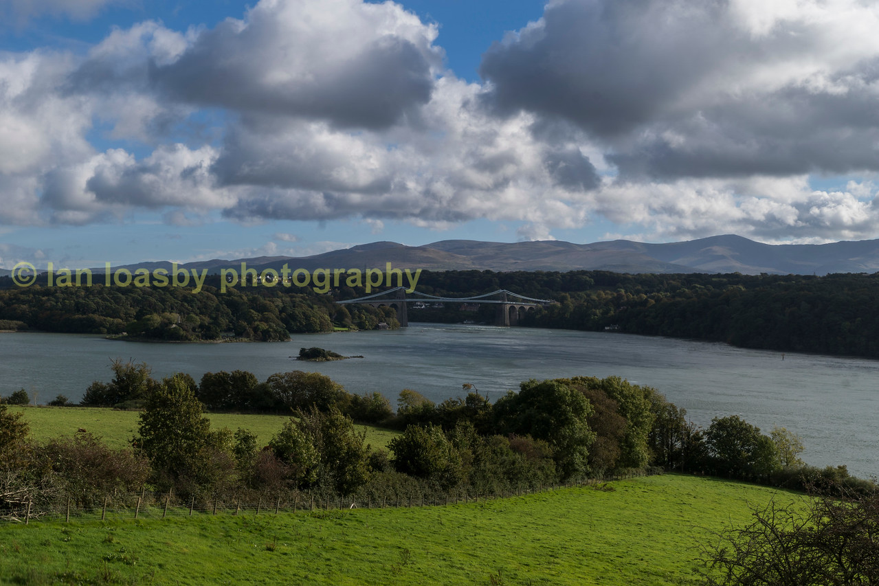 The Menai bridge looking across the straight from Anglesy