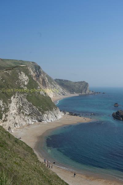 The Jurassic coast looking east at Durdle Door Dorset