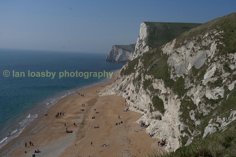 The Jurassic coast in Dorset looking west from Durdle Door