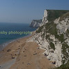 The Jurassic coast in Dorset looking west from Durdle Door