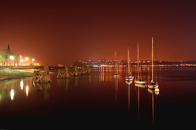 Boats Bobbing Through The Night at Cardiff Bay