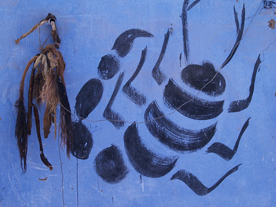 Egypt. This was painted on the wall of a Nubian home. Scorpion and Camel tails.